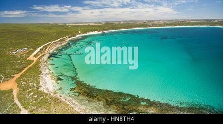 Aerial panorama of Vivonne Bay and pier in Summer. Kangaroo Island, South Australia - Stock Photo