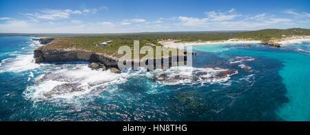Hanson Bay coastline aerial panorama. Kangaroo Island, South Australia - Stock Photo