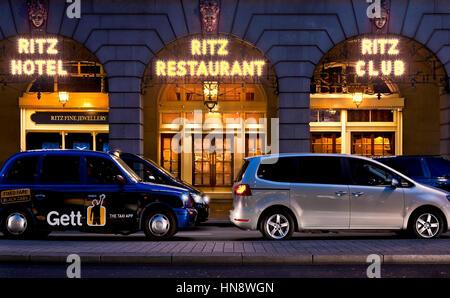 night shot of ritz hotel london - Stock Photo