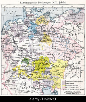 Historical map of the Holy Roman Empire under Charles IV,  territory of the House of Luxembourg, 14th century - Stock Photo