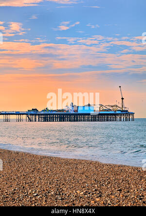 brighton pier in sunset - Stock Photo