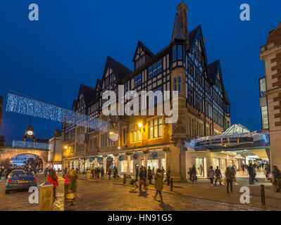 The Grosvenor Hotel in Chester city centre christmas lights. decorations. - Stock Photo