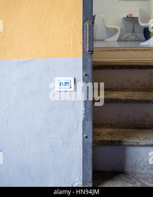 Button for disabled information and help to enter an area - Stock Photo