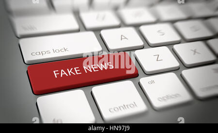 FAKE NEWS button or key on computer keyboard. 3d Rendering - Stock Photo
