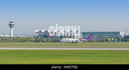 Munich, Germany - May 6, 2016: Passenger turbojet airliner Boeing 747-400 of Thai Airways International airlines - Stock Photo