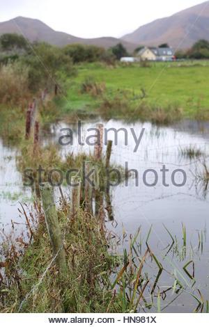 Flooded farmland near Castlegregory Ireland - Stock Photo