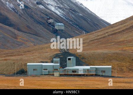 Old coal mine at Adventdalen in summer, Longyearbyen, Svalbard / Spitsbergen - Stock Photo
