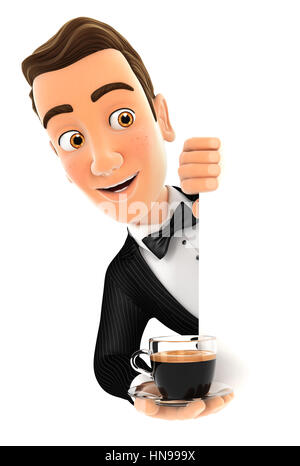 3d waiter behind left wall and holding cup of coffee, illustration with isolated white background - Stock Photo