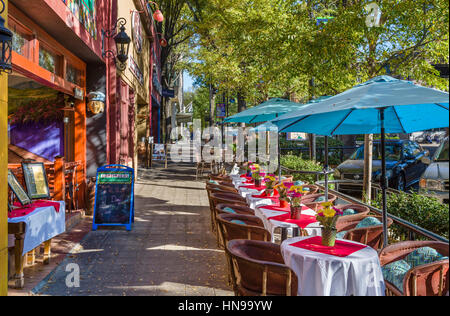 Greenville, South Carolina. Restaurant on Main Street in downtown Greenville, South Carolina, USA - Stock Photo