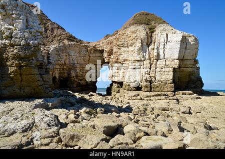 Rock Arch at Thornwick Bay - Stock Photo
