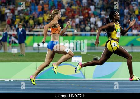 Rio de Janeiro, Brazil. 17 August 2016. Athletics, Elaine Thompson (JAM) gold Dafne Schippers (NED) silver in the - Stock Photo