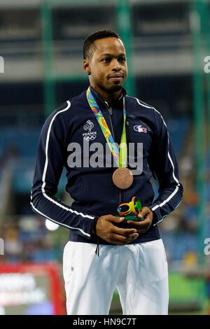 Rio de Janeiro, Brazil. 17 August 2016.  Dimitri Bascou (FRA) bronze medal winner in the Men's 110m Hurdles at the - Stock Photo