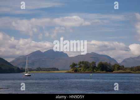 Yacht on Loch Leven near North Ballachulish, Lochaber, Highland, Scotland, UK - Stock Photo