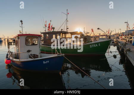 The small fishing habor of Strande community with its fishing boats,  Baltic Sea, Schleswig Holstein, Germany - Stock Photo