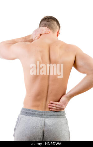 Man with back pain over white background - Stock Photo