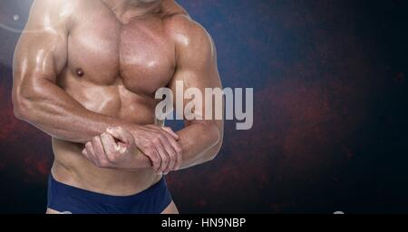 Digital composite of Fitness Torso against dark blackground - Stock Photo