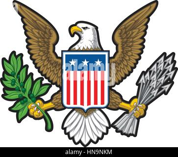 Vector illustration of the American Bold Eagle National Symbol. The design has two layers of shadow to give the - Stock Photo