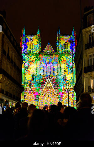 """NANTES, FRANCE - DECEMBER 26, 2016: 'L'Odyssée des Rêves' sound and light show is based on """"Noah's Ark"""" by Alain - Stock Photo"""