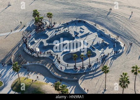 Los Angeles, California, USA - December 17, 2016:  Aerial of popular skateboard park at Venice Beach in Southern - Stock Photo