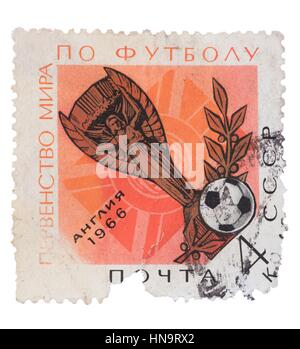 USSR - CIRCA 1966: A stamp printed in the  shows  football  - Stock Photo