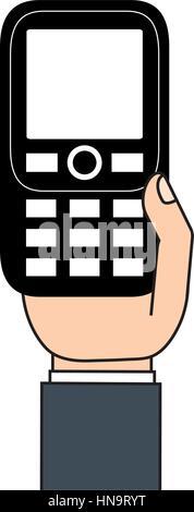 retro mobile phone in hand - Stock Photo