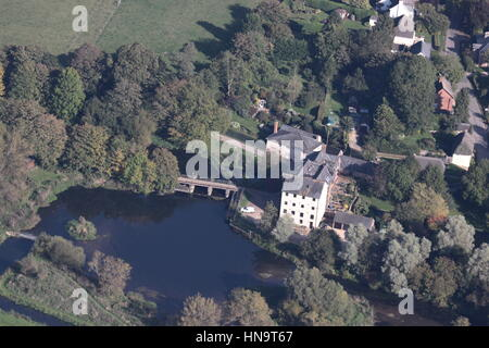 Aerial  view of Bickton Mill on the River Avon Fordingbridge New Forest Hampshire - Stock Photo