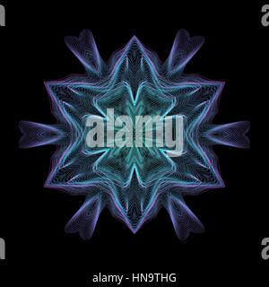 vector glitch blue green warped parametric lines shape abstract snowflake waves black background decoration - Stock Photo