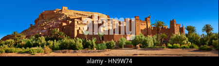 Adobe buildings of the Berber Ksar or fortified village of Ait Benhaddou, Sous-Massa-Dra Morocco - Stock Photo