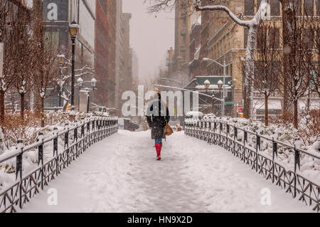New York, USA. 09th Feb, 2017. Relentless New Yorkers that won't be stopped by the storm - Up to 14 inches of snow - Stock Photo