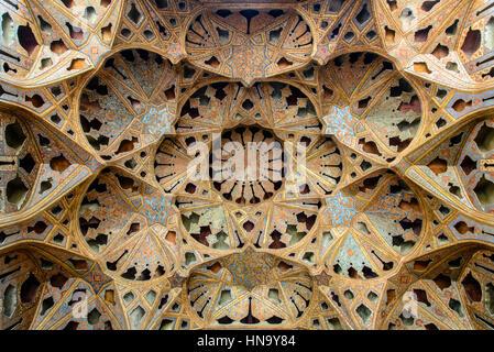 ISFAHAN, IRAN - OCTOBER 18, 2014: Music Room, Ali-Qapu-Palace west of Naqsh-e Jahan Square, Isfahan, Iran - one - Stock Photo