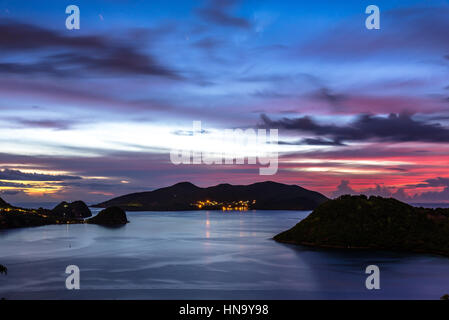 Islands of the Saints after sunset (long exposure) - Stock Photo