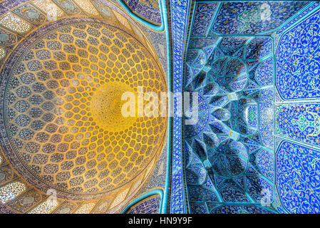 ISFAHAN, IRAN – AUG 29, 2016: interior ceiling of Sheikh Lotfollah Mosque. The mosque and the Naqsh-e Jahan Square - Stock Photo