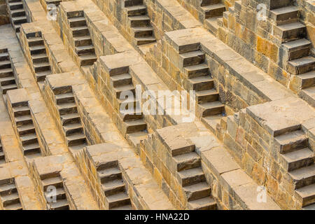 The steps of the Chand Baori Stepwell in Abhaneri, Rajasthan, India. - Stock Photo