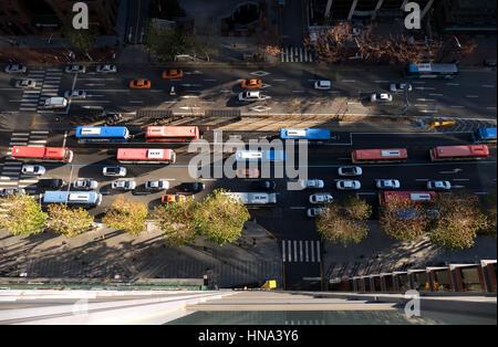 View of Gangnam-daero Boulevard in Gangnam district, Seoul, South Korea, Asia. Traffic, cars, buses - Stock Photo