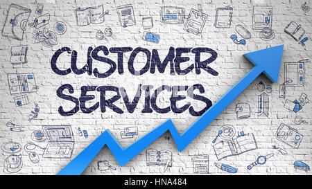 Customer Services Drawn on White Brick Wall.  - Stock Photo