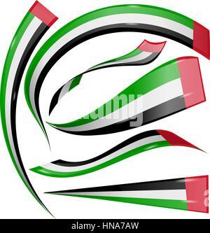 united arab emirates flag set isolated on white background - Stock Photo