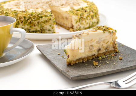 Halva Cheese Cake and tea anyone - Stock Photo