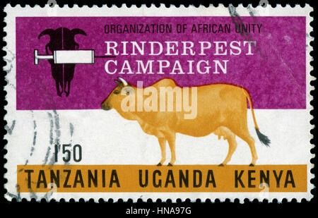 Postmarked stamp from British East Africa (Kenya, Uganda and Tanganyika) in the Rinderpest Campaign series issued - Stock Photo