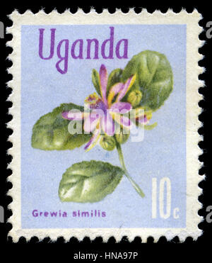 Postage stamp from Uganda in the Native Flora series issued in 1969 - Stock Photo