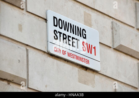 Downing Street sreet sign, London, UK. - Stock Photo