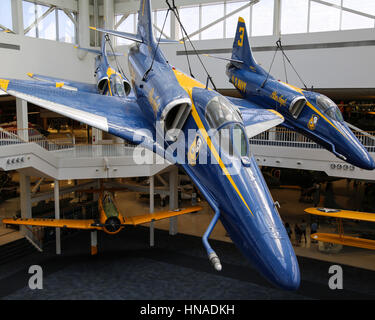 Blue Angels A-4 Skyhawk Aircraft - Stock Photo