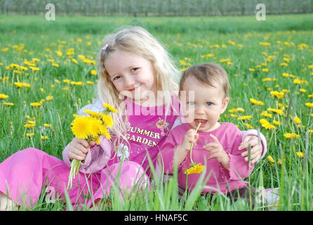 Zwei Kinder sitzen in Loewenzahnwiese - two children in a dandelion meadow - Stock Photo
