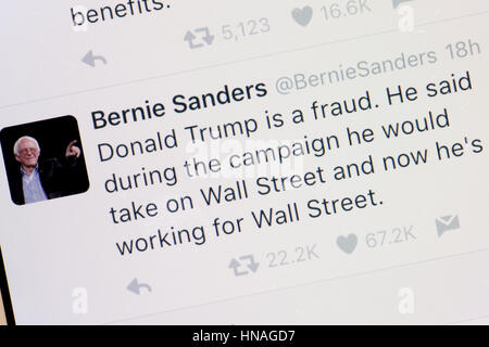 Senator Bernie Sanders Twitter account  on mobile phone screen - USA - Stock Photo