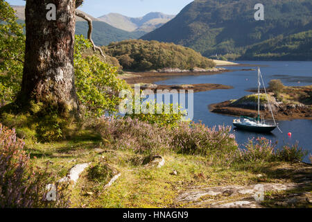 Yachts at anchor in Bishops bay on Loch Leven, Ballachulish, West Highlands - Stock Photo