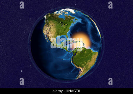 Earth from space. Computer illustration showing the Earth as viewed from space, centred over Central America. North - Stock Photo