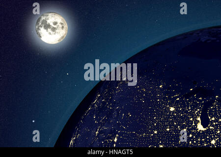 Earth and moon from space at night. Computer illustration showing the Earth as viewed from space, centred over the - Stock Photo