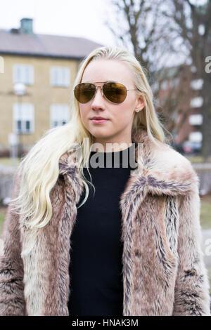 Blonde Teen In Fur Coat 96