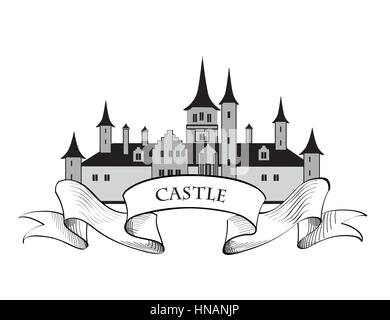 Castle logo. Fortress isolated on the white background. Retro vector label. - Stock Photo