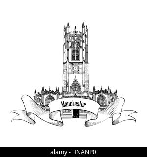 Travel England sign. Manchester cathedral, UK, Great Britan. English city famous building. Vector label isolated. - Stock Photo