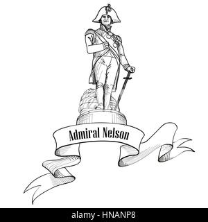 Admiral Nelson statue in Trafalgar Square, London, England, UK. Nelson colounm. Travel London label isolated. - Stock Photo